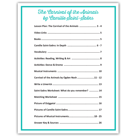 Camille Saint-Saëns' Carnival of the Animals Musical Lesson Plan: Table of Contents